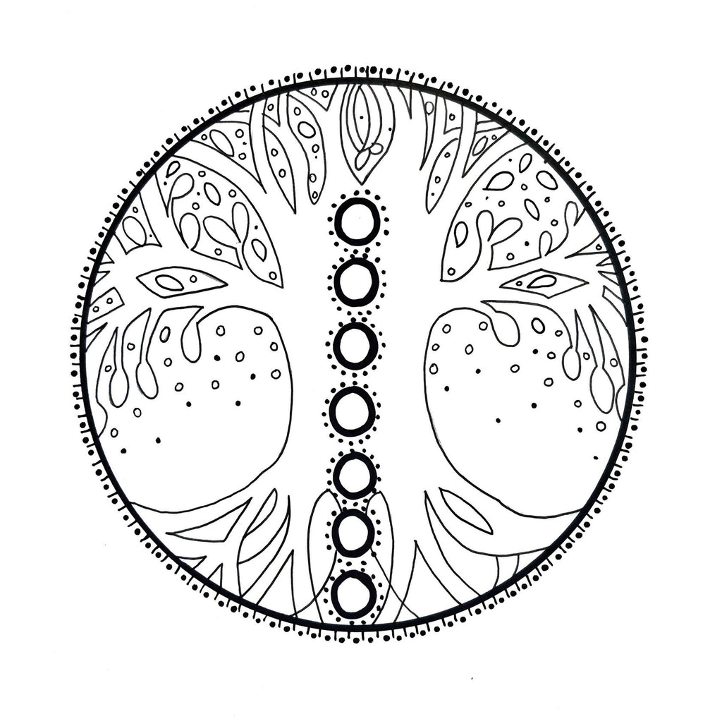 7 Chakra Tree of Life A4 Colouring Page | Digital Download
