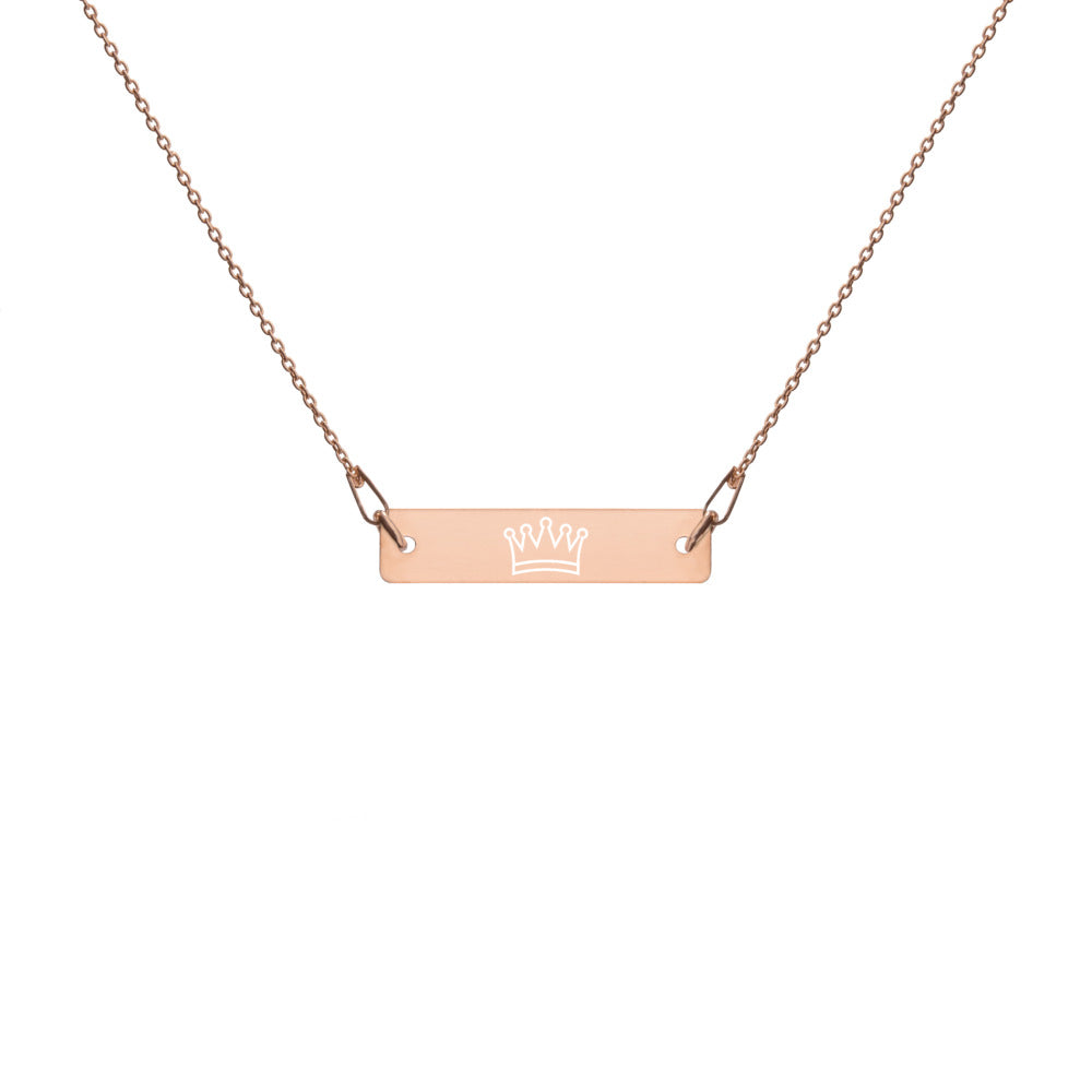 Engraved Silver Bar Chain Necklace - Crown