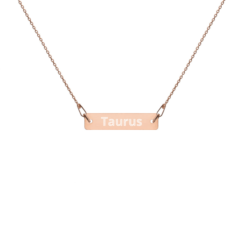 Engraved Silver Bar Chain Necklace - Taurus