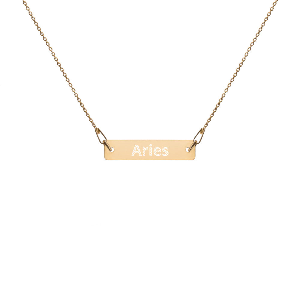 Engraved Silver Bar Chain Necklace - Aries