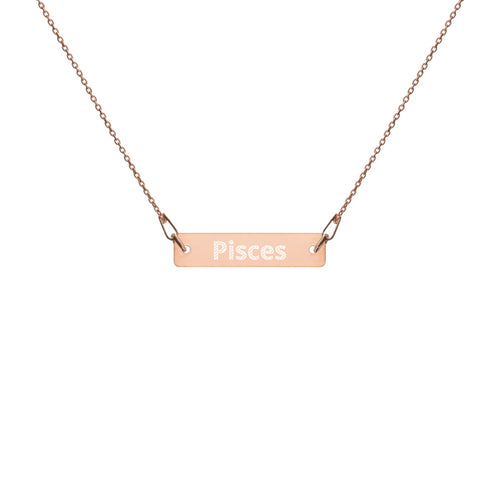 Engraved Silver Bar Chain Necklace - Pisces