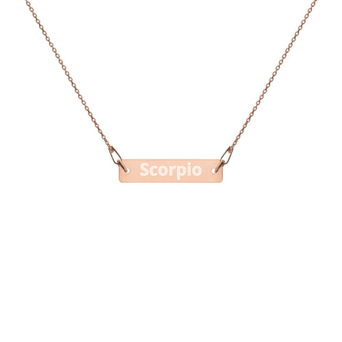 Engraved Silver Bar Chain Necklace - Scorpio