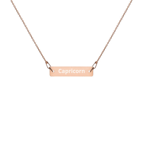 Engraved Silver Bar Chain Necklace - Capricorn
