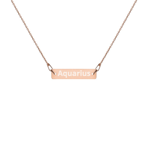 Engraved Silver Bar Chain Necklace - Aquarius