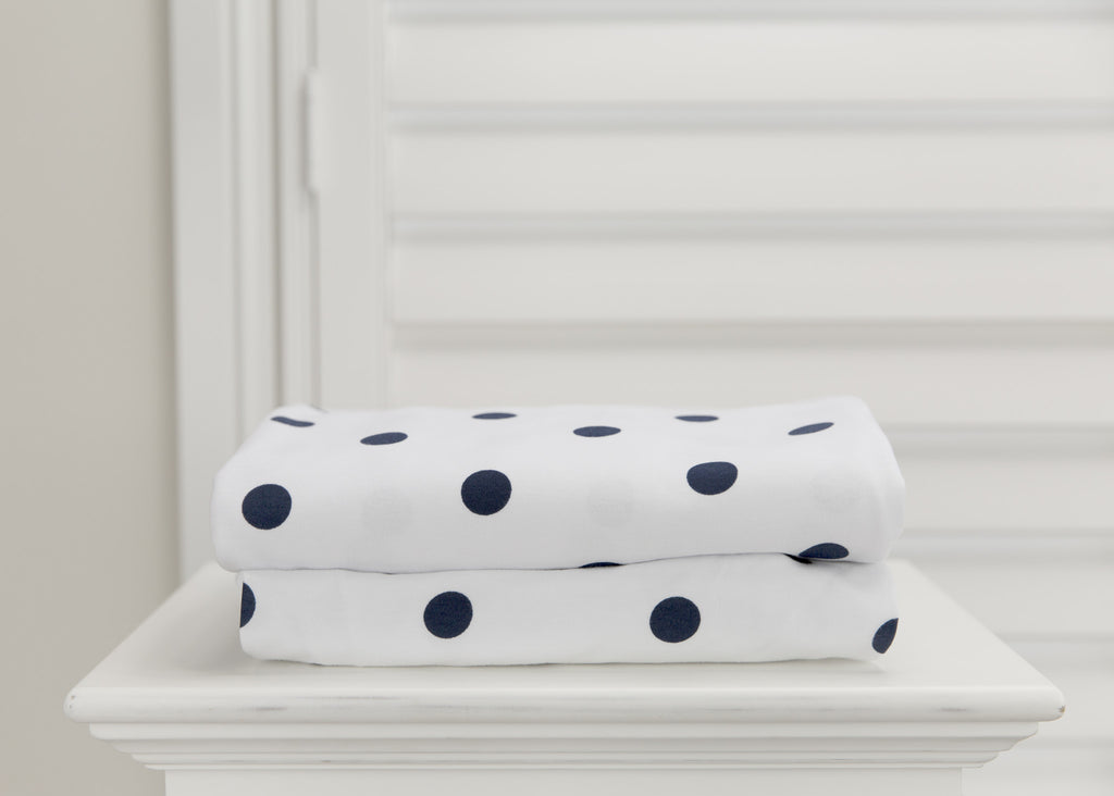 2 piece fitted cot sheet set - Navy stripes & Polkadots
