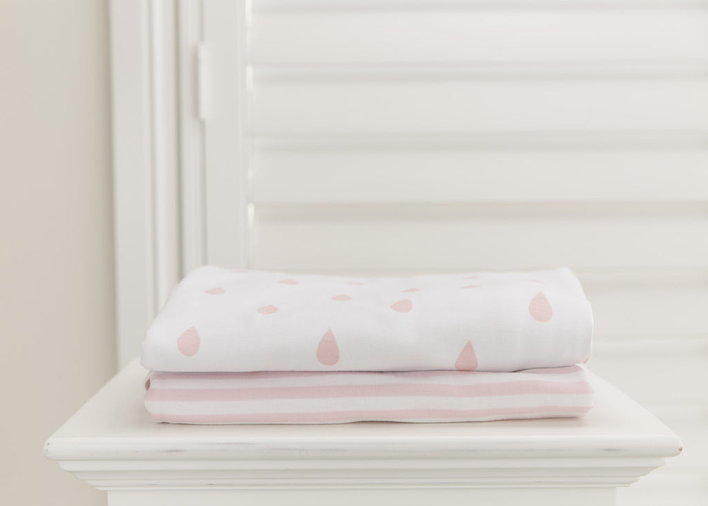 L'il Fraser 2 piece fitted cot sheet set - Vintage Pink stripes & raindrops