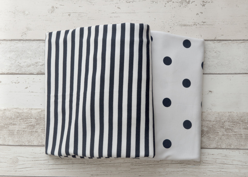 L'il Fraser 2 piece fitted cot sheet set - Navy stripes & Polkadots