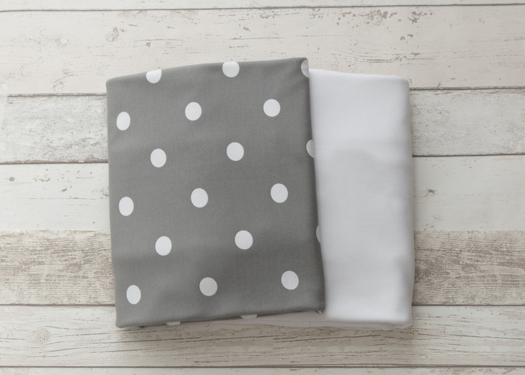 2 piece fitted cot sheet set - Grey with White Polkadots & Crisp White