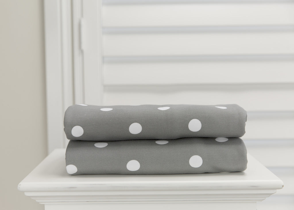 L'il Fraser 2 piece fitted cot sheet set - Grey with White Polkadots & Crisp White