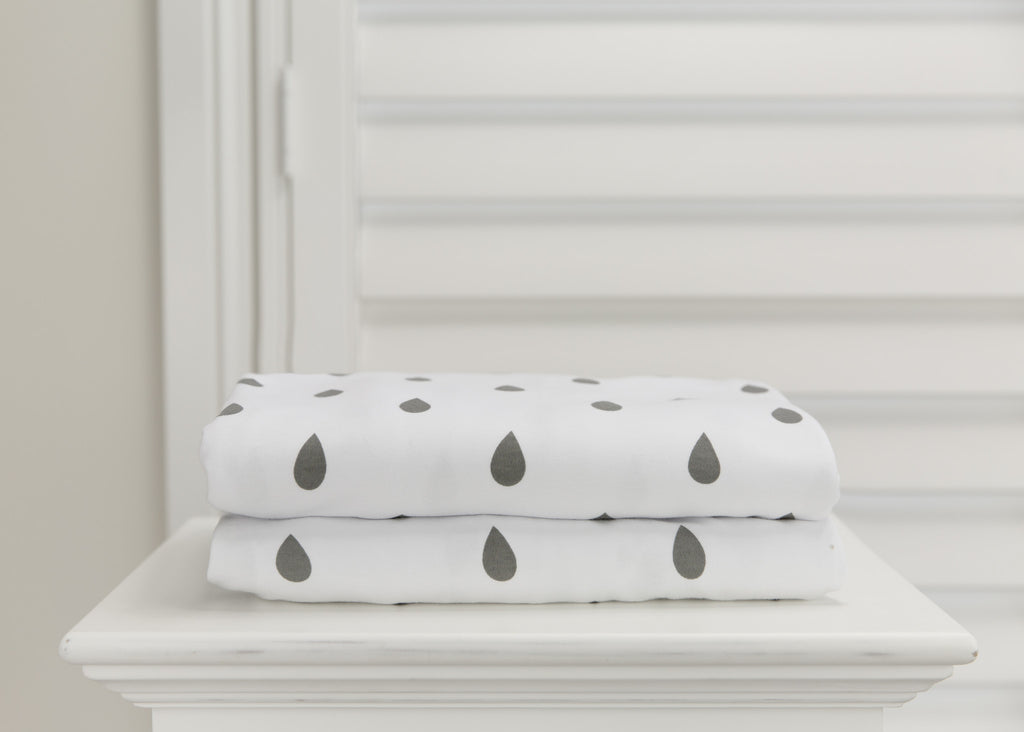 1 piece fitted cot sheet - Grey raindrops