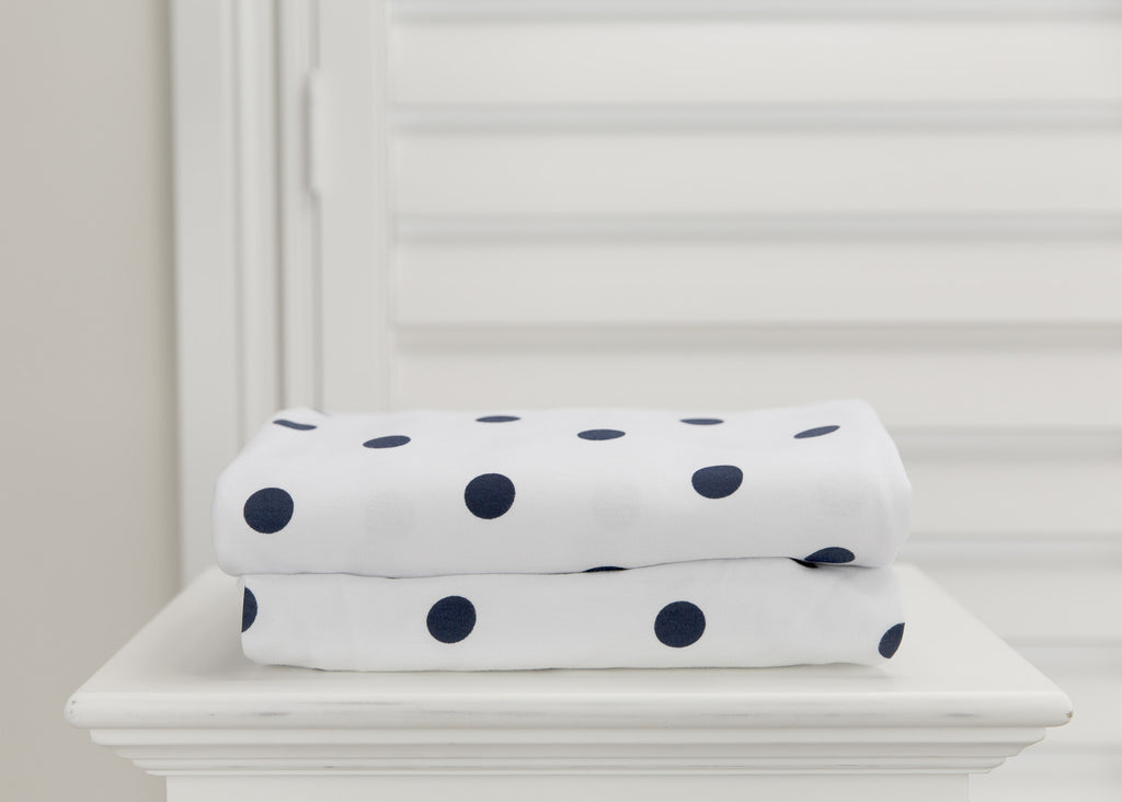 1 piece fitted cot sheet - Navy Polkadots