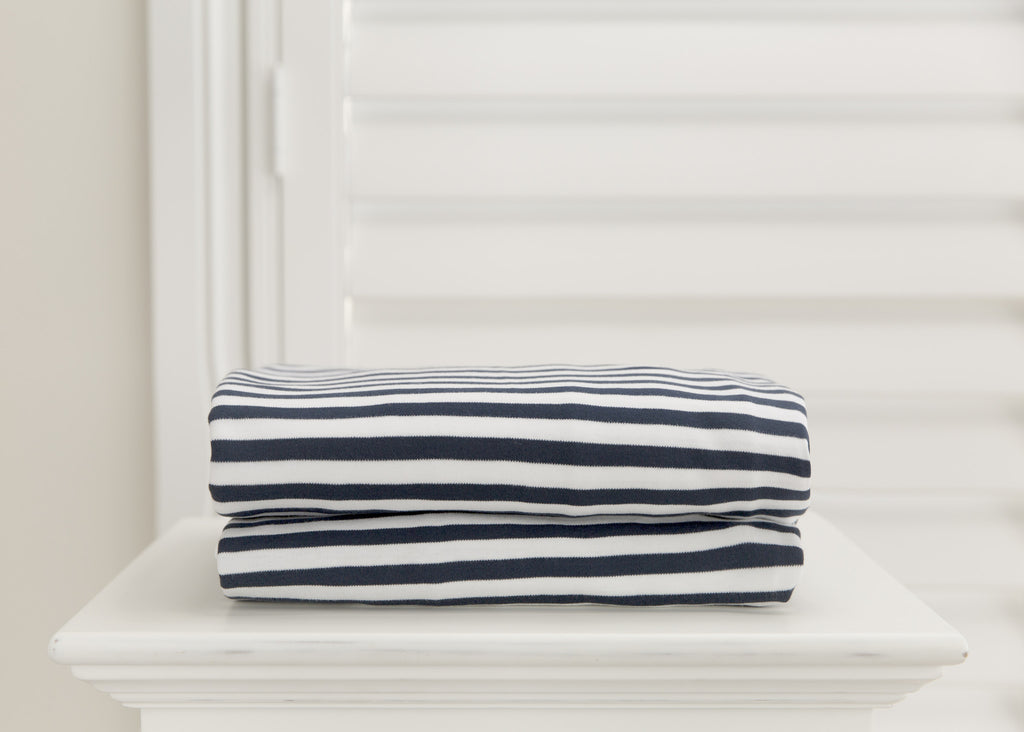 L'il Fraser 1 piece fitted cot sheet - Navy & White stripes