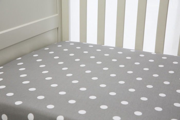 1 piece fitted cot sheet - Grey with White polkadots