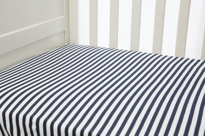 1 piece fitted cot sheet - Navy & White stripes