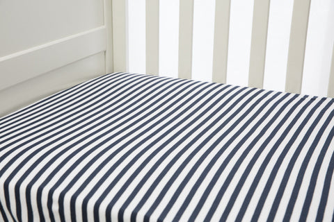 1 Piece Fitted Cot Sheet   Navy U0026 White Stripes ...