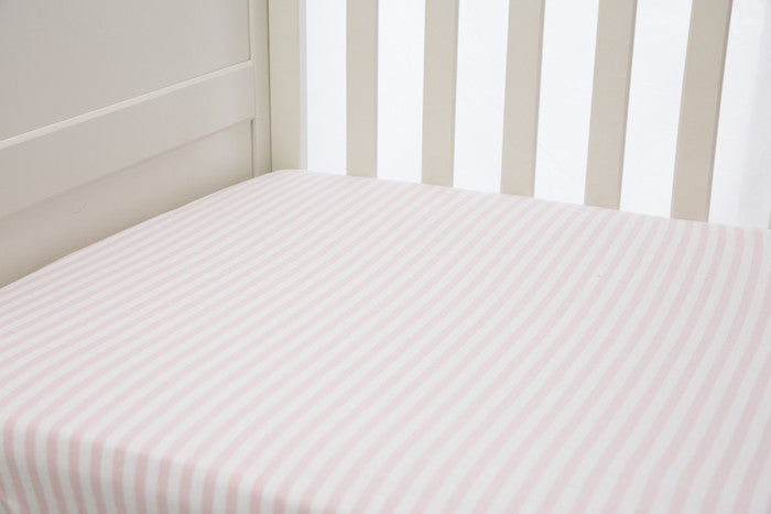 1 piece fitted cot sheet - Vintage pink & White stripes