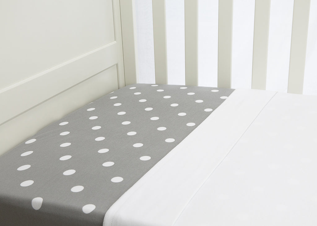 2 piece flat & fitted cot sheet set - Grey with white polkadot fitted & Crisp white flat