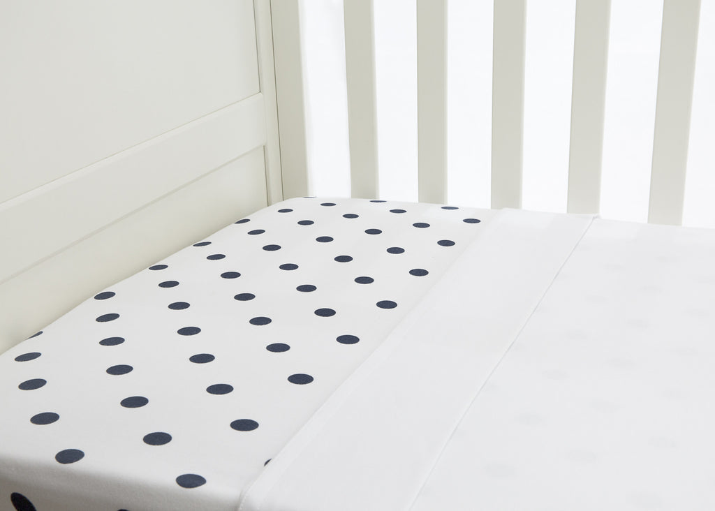 2 piece flat & fitted cot sheet set - Navy polkadot fitted & Crisp white flat