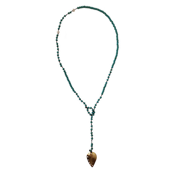 Fly Silver & Turquoise Beaded Necklace