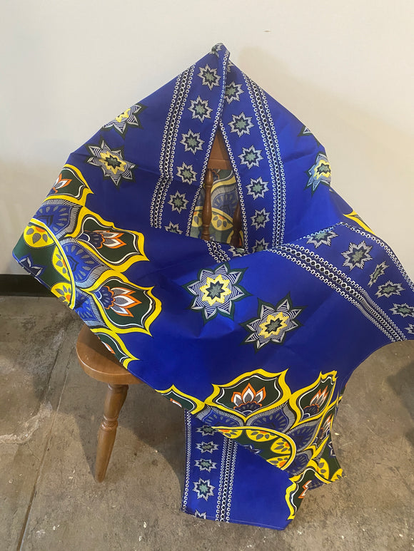 Blue and Yellow African Head Wrap- XL
