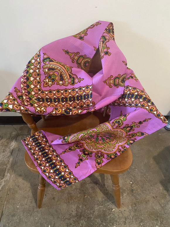 Purple and Blue African Head Wrap- XL