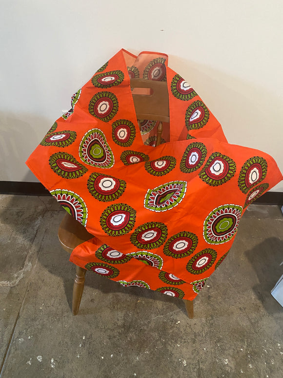 Orange and Red African Head Wrap- XL