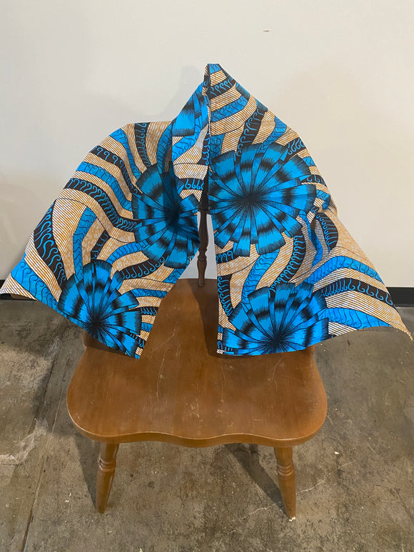 Blue, Black and Tan Floral Bow Head Wrap- M