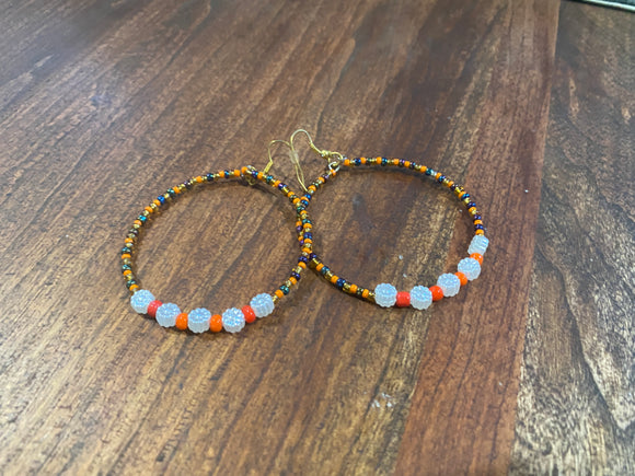 Orange and White Multi Colored Beaded African Earrings