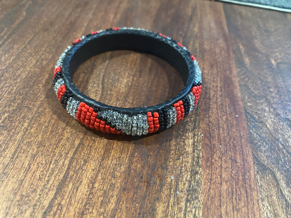 Black, Red and Clear Beaded African Bracelet