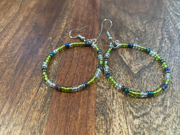 Green and Clear Multi Colored Beaded African Earrings