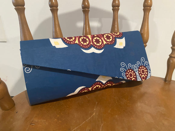Blue Design African Clutch Purse