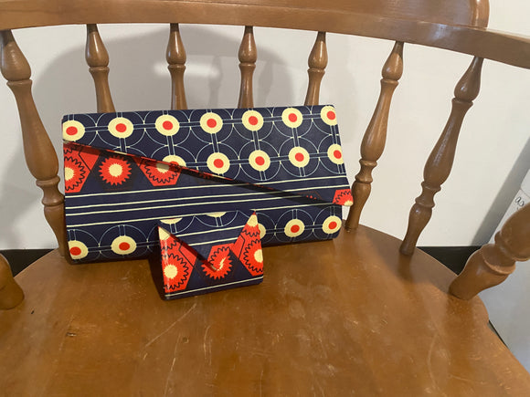 Blue and Red Design African Clutch Purse with Change Purse