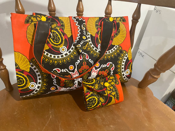 Orange and Black Design African Purse with Matching Change Purse