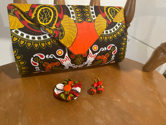 Orange and Black Design African Clutch Purse Set