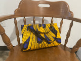 Blue and Yellow Feather Design African Purse