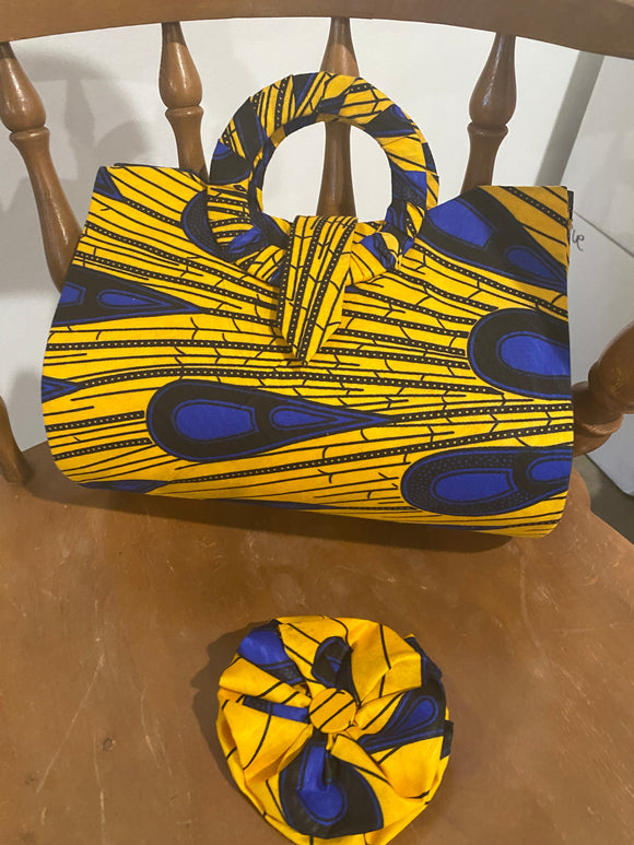Blue and Yellow Feather Design African Purse with Matching Pin