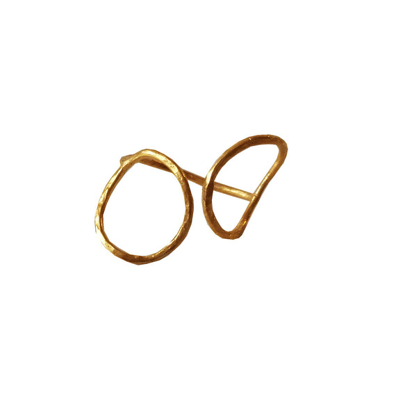 Minimal Gold Plated Circles Ring