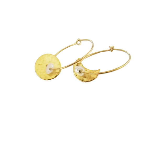 SunMoon Hoop Earrings with Pearls