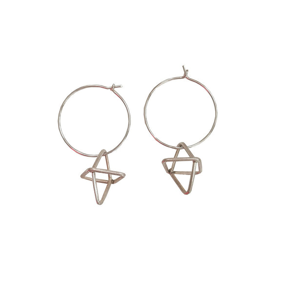 Rhombi Silver 3D Hoop Cross Earrings