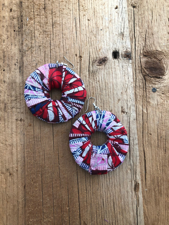 Red, White and Blue Circle Cloth African Earrings