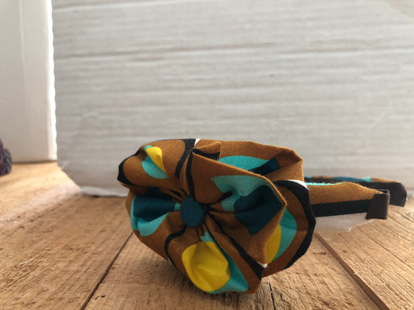 Tan, Yellow and Blue African Head Band