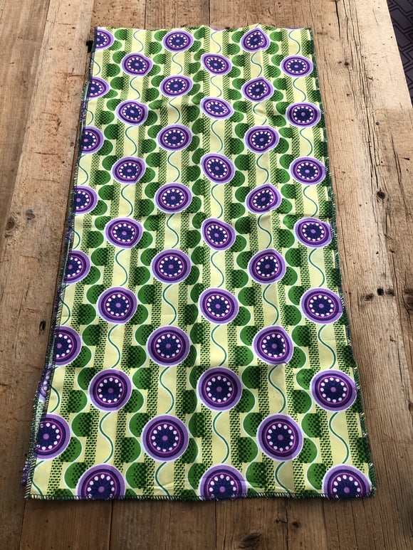 Green, Yellow and  Purple Circle African Head Wrap