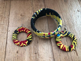 Black Red and Yellow Circle Cloth African Earrings and Bracelet