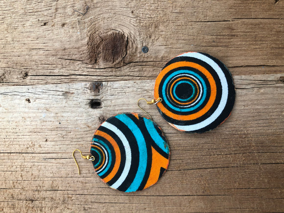 Orange, Black, White and Blue Circle Cloth African Earrings