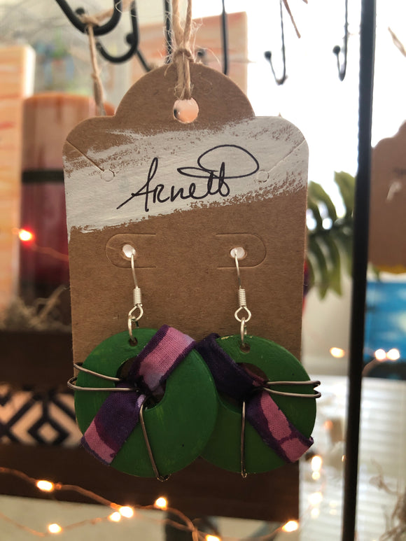 Green Purple Striped Earrings - Circles
