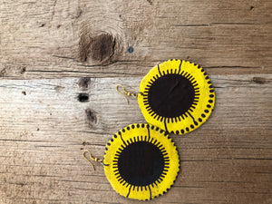 Yellow and Black Circle Cloth African Earrings