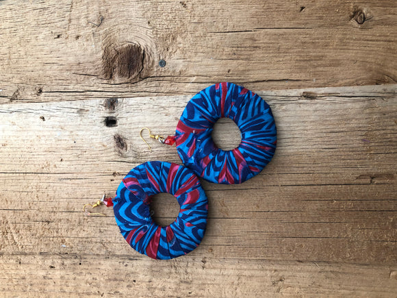 Blue, Red and Pink Circle Cloth African Earrings