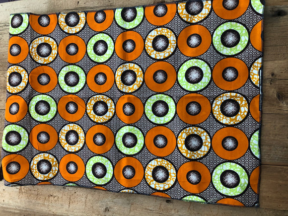 Orange, Brown and Lime Circle African Head Wrap