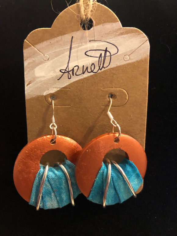 Salmon Circle Earrings with Turquoise Cloth