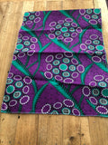Purple, Green and White Circle African Head Wrap